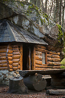 View of wooden cabin - Petricek refuge on Camino el Frey in Bariloche, Argentina
