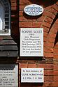 Memorial plaque to Jazz Musician and Club Proprietor, Ronnie Scott, Golders Green Crematorium, Golders Green, London, UK.