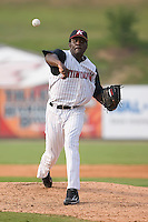 Relief pitcher Santo Luis (51) of the Kannapolis Intimidators in action at Fieldcrest Cannon Stadium in Kannapolis, NC, Sunday July 20, 2008. (Photo by Brian Westerholt / Four Seam Images)