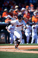 Oregon State Beavers Troy Claunch (17) hits a double during an NCAA game against the New Mexico Lobos at Surprise Stadium on February 14, 2020 in Surprise, Arizona. (Zachary Lucy / Four Seam Images)