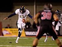 Vincenzo D'Amato of California kicks the ball during kick off against Utah at Rice-Eccles Stadium in Salt Lake City, Utah on October 27th, 2012.   Utah Utes defeated California, 49-27.