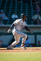 Peoria Javelinas shortstop Lucius Fox (5), of the Tampa Bay Rays organization, follows through on his swing during an Arizona Fall League game against the Mesa Solar Sox at Sloan Park on November 6, 2018 in Mesa, Arizona. Mesa defeated Peoria 7-5 . (Zachary Lucy/Four Seam Images)