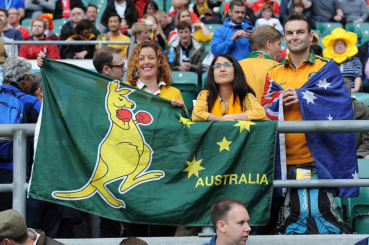Wallabies fans during Match 35 of the Rugby World Cup 2015 between Australia and Wales - 10/10/2015 - Twickenham Stadium, London<br /> Mandatory Credit: Rob Munro/Stewart Communications