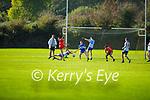 Éanna O'Conchuir of An Ghaeltacht has his effort blocked by Brian Leonard of Castleisland Desmonds in the Intermediate Club football Championship Quarter-Final