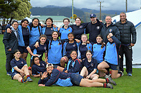 The Palmerston North Girls' High School team poses for a team photo during the 2020 Hurricanes Under-15 Girls tournament at Playford Park in Levin, New Zealand on Tuesday, 1 September 2020. Photo: Dave Lintott / lintottphoto.co.nz