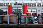 A young Boro fan outside The Riverside stadium Middlesbrough. 16th January 2021, Middlesbrough 0 Birmingham 1.