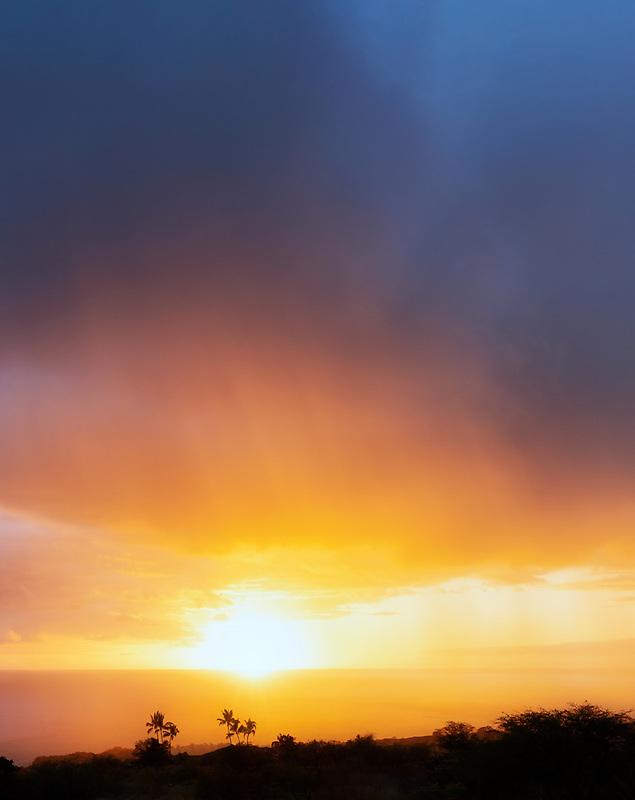 Sunset off Kohala Coast. Hawaii the big island. The island of Hawaii