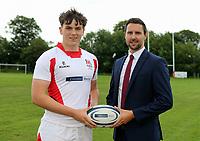 Ulster Rugby Schools 2018-2019<br /> <br /> Coleraine Grammar School player Oscar Egan with Danske Bank representative Ian Russell.<br /> <br /> Photo by John Dickson / DICKSONDIGITAL