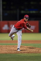 AZL Angels relief pitcher Sadrac Franco (72) follows through on his delivery during an Arizona League game against the AZL Indians 2 at Tempe Diablo Stadium on June 30, 2018 in Tempe, Arizona. The AZL Indians 2 defeated the AZL Angels by a score of 13-8. (Zachary Lucy/Four Seam Images)