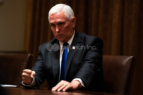 United States Vice President Mike Pence speaks during a meeting with members of the National Association of Police Organizations Leadership in the Cabinet Room of the White House in Washington, DC, on July 31st, 2020.<br /> Credit: Anna Moneymaker / Pool via CNP /MediaPunch