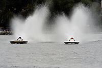 "13-14 June, 2009, APBA Inboards, Walled Lake, Novi, MI. USA.Steve Kuhr, GNH-317 ""The Irishman"", Grand National Hydroplane,Tony Black, NM-928 ""Illusion"", National Mod hydroplane.©F. Peirce Williams 2009 USA.F.Peirce Williams.photography.ref: RAW (.NEF) File Available"