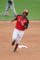 Team USA Josh Bell (47) rounds the bases after hitting a home run during the MLB All-Star Futures Game on July 12, 2015 at Great American Ball Park in Cincinnati, Ohio.  (Mike Janes/Four Seam Images)