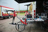 bikes getting prepped for the much anticipated 'Roubaix-stage' the next day<br /> <br /> 2014 Tour de France<br /> stage 4: Le Touquet-Paris-Plage/Lille Métropole (163km)