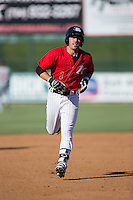 Danny Mendick (1) of the Kannapolis Intimidators hustles towards third base against the Greenville Drive at Intimidators Stadium on June 7, 2016 in Kannapolis, North Carolina.  The Drive defeated the Intimidators 4-1 in game one of a double header.  (Brian Westerholt/Four Seam Images)