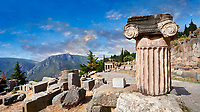 Ancient Greek ruins of the Processional Way of Delphi archaeological site, Delphi, Greece