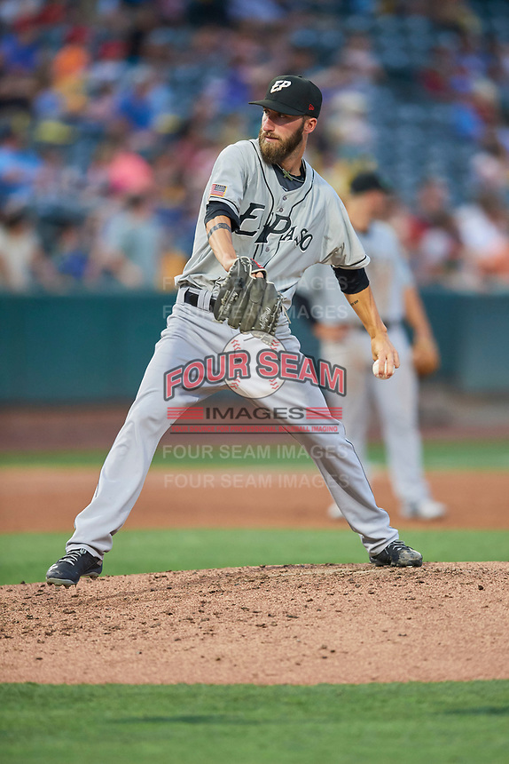 El Paso Chihuahuas starting pitcher Dillon Overton (21) delivers a pitch to the plate against the Salt Lake Bees at Smith's Ballpark on August 14, 2018 in Salt Lake City, Utah. El Paso defeated Salt Lake 6-3. (Stephen Smith/Four Seam Images)