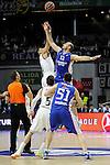 Real Madrid´s Gustavo Ayon and Anadolu Efes´s Nenad Krstic during 2014-15 Euroleague Basketball Playoffs match between Real Madrid and Anadolu Efes at Palacio de los Deportes stadium in Madrid, Spain. April 15, 2015. (ALTERPHOTOS/Luis Fernandez)