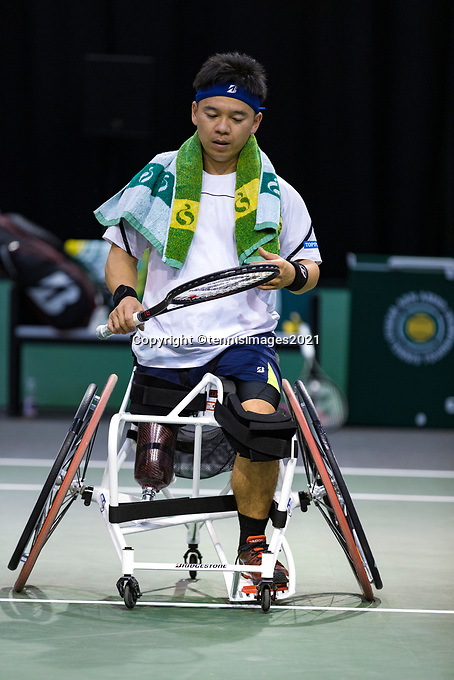 Rotterdam, The Netherlands, 4 march  2021, ABNAMRO World Tennis Tournament, Ahoy, First round wheelchair: Martin De La Puente (ESP) vs. Takashi Sanada (JPN).<br /> Photo: www.tennisimages.com/