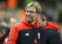 Liverpool manager Jurgen Klopp winks during the Barclays Premier League match between Liverpool and Swansea City played at The Anfield Stadium on November 29th 2015