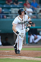 Sam Huff (28) of the Down East Wood Ducks starts down the first base line against the Winston-Salem Dash at Grainger Stadium Field on May 17, 2019 in Kinston, North Carolina. The Dash defeated the Wood Ducks 8-2. (Brian Westerholt/Four Seam Images)