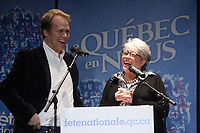 May 02, 2012 -  File Photo - Montreal, Quebec, CANADA -  Quebec en Nous<br />  News Conference  - Christopher Hall  (L), Louise Forestier (R)