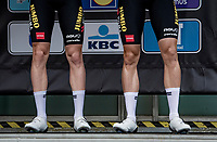 Wout van Aert's (BEL/Jumbo-Visma) shiny calves (right) on display at the race start in Leuven<br /> <br /> 61st Brabantse Pijl 2021 (1.Pro)<br /> 1 day race from Leuven to Overijse (BEL/202km)<br /> <br /> ©kramon