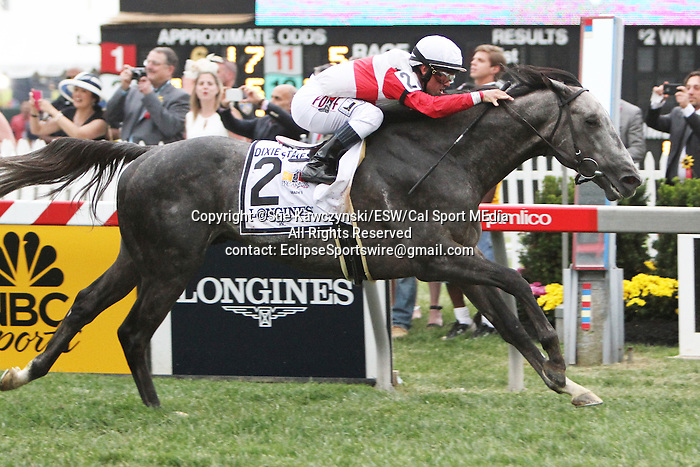 """May 16, 2015: Ironicus with Victor Esinoza wins the 114th running of the Grade II Dixie Stakes, for 3-year olds & up, going1 1/16 mile on the turf, at Pimlico Racetrack. Trainer:  Claude """"Shug"""" McGaughey III . Owner: Stuart Janney. Sue Kawczynski/ESW/CSM"""