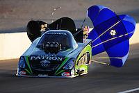 Oct. 28 2011; Las Vegas, NV, USA: NHRA funny car driver Alexis DeJoria during qualifying for the Big O Tires Nationals at The Strip at Las Vegas Motor Speedway. Mandatory Credit: Mark J. Rebilas-US PRESSWIRE