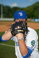 Bluefield Blue Jays pitcher Troy Watson (14) poses for a photo before a game against the Bristol Pirates on July 26, 2018 at Bowen Field in Bluefield, Virginia.  Bristol defeated Bluefield 7-6.  (Mike Janes/Four Seam Images)