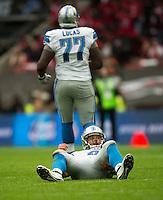 26.10.2014.  London, England.  NFL International Series. Atlanta Falcons versus Detroit Lions. Lions' QB Matthew Stafford [9] is left on the floor.