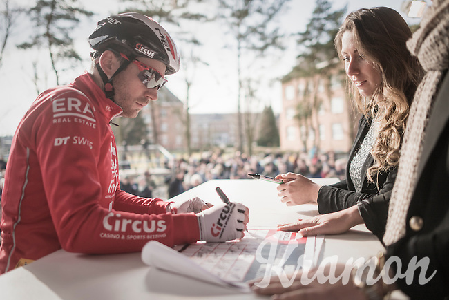 (soon to retire) Suisse Champion Julien Taramarcaz (SUI/ERA-Circus) signing the start list for one of the very last times in his pro career<br /> <br /> men's race<br /> CX Soudal Classics Leuven/Belgium 2017