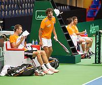 04-04-12, Netherlands, Amsterdam, Tennis, Daviscup, Netherlands-Rumania, training, Rojer/Sijsling tegen Haase en Schoorel (L)