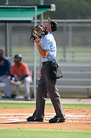 Umpire Kaleb Martin during a Gulf Coast League game between the GCL Astros and GCL Cardinals on August 11, 2019 at Roger Dean Stadium Complex in Jupiter, Florida.  GCL Cardinals defeated the GCL Astros 2-1.  (Mike Janes/Four Seam Images)