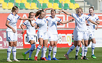 20190301 - LARNACA , CYPRUS : Finnish Olga Ahtinen (8) pictured celebrating her goal and the 1-0 lead with Jenny Danielsson (13) and Kaisa Collin (19)during a women's soccer game between Finland and Czech Republic , on Friday 1 March 2019 at the AEK Arena in Larnaca , Cyprus . This is the second game in group A for Both teams during the Cyprus Womens Cup 2019 , a prestigious women soccer tournament as a preparation on the Uefa Women's Euro 2021 qualification duels. PHOTO SPORTPIX.BE   DAVID CATRY