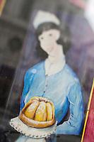 Europe/Autriche/Niederösterreich/Vienne: Détail  du mur peint, enseigne d'une pâtisserie  sur  Stiftgasse