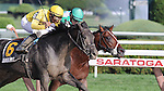Quick Wit (no. 6), ridden by Rajiv Maragh and trained by Dale Romans, wins the 28th running of the grade 2 National Museum of Racing Hall of Fame Stakes for three year olds on August 10, 2012 at Saratoga Race Track in Saratoga Springs, New York.  (Bob Mayberger/Eclipse Sportswire)