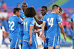 Getafe CF's Djene Dakoman celebrates goal with his partners during friendly match. August 10,2019. (ALTERPHOTOS/Acero)