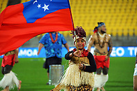 A flag bearer at the international rugby match between Manu Samoa and the Maori All Blacks at Sky Stadium in Wellington, New Zealand on Saturday, 26 June 2021. Photo: Dave Lintott / lintottphoto.co.nz