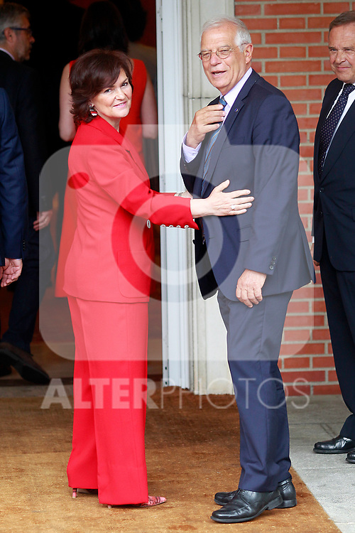 Carmen Calvo, Vice President and Minister of Equality and of the Presidency (l) and Josep Borrell, Minister of Foreign, EU and Cooperation after the first Council of Ministers of the new Government of Spain. June 8,2018. (ALTERPHOTOS/Acero)
