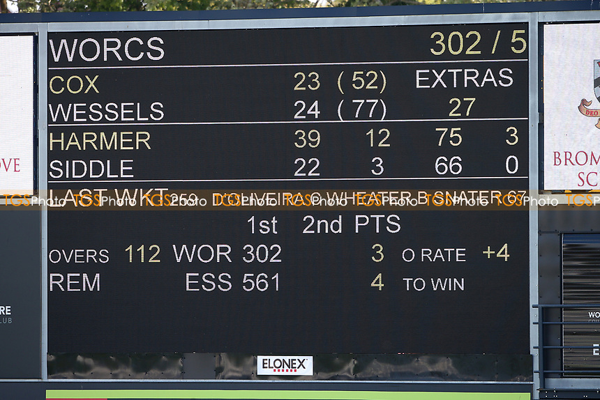 The scoreboard displays the overnight score ahead of Day Four during Worcestershire CCC vs Essex CCC, LV Insurance County Championship Group 1 Cricket at New Road on 2nd May 2021