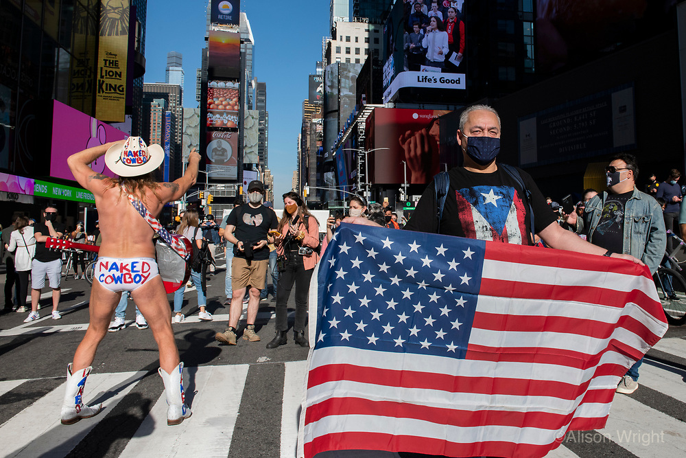 November 7, 2020. Joe Biden and Kamala Harris announce their election win and New York Ciy celebrates. Crowds gather in Times Square.