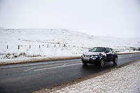 Pictured: A car drives in the snow at Libanus, in Brecon, Wales, UK. Friday 01 February 2019<br /> Re: Heavy snow and freezing temperatures affecting parts of the UK.Heavy snow and freezing temperatures affecting parts of the UK.