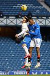 13.02.2021 Rangers v Kilmarnock: Brandon Haunstrup and Joe Aribo clash heads