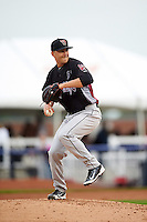Wisconsin Timber Rattlers pitcher Josh Uhen (31) delivers a pitch during the first game of a doubleheader against the Quad Cities River Bandits on August 19, 2015 at Modern Woodmen Park in Davenport, Iowa.  Quad Cities defeated Wisconsin 3-2.  (Mike Janes/Four Seam Images)