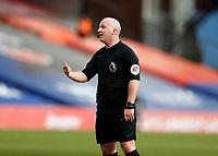 13th March 2021; Selhurst Park, London, England; English Premier League Football, Crystal Palace versus West Bromwich Albion;  Referee Simon Hooper explains a decision