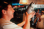 Seattle, Pike Place Market, Pike Place Fish market tossing salmon, downtown Seattle, Historical District, Washington State, Pacific Northwest, United States,