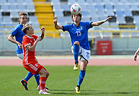 20180302 - LARNACA , CYPRUS : Italian Valentina Giacinti (15) pictured in a duel with Welsh Jessica Fishlock (left) during a women's soccer game between Italy and Wales , on friday 2 March 2018 at GSZ Stadium in Larnaca , Cyprus . This is the second game in group A for Italy and Wales during the Cyprus Womens Cup , a prestigious women soccer tournament as a preparation on the World Cup 2019 qualification duels. PHOTO SPORTPIX.BE | DAVID CATRY