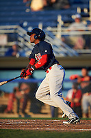 Lowell Spinners outfielder Luis Alexander Basabe (16) at bat during a game against the Batavia Muckdogs on August 12, 2015 at Dwyer Stadium in Batavia, New York.  Batavia defeated Lowell 6-4.  (Mike Janes/Four Seam Images)