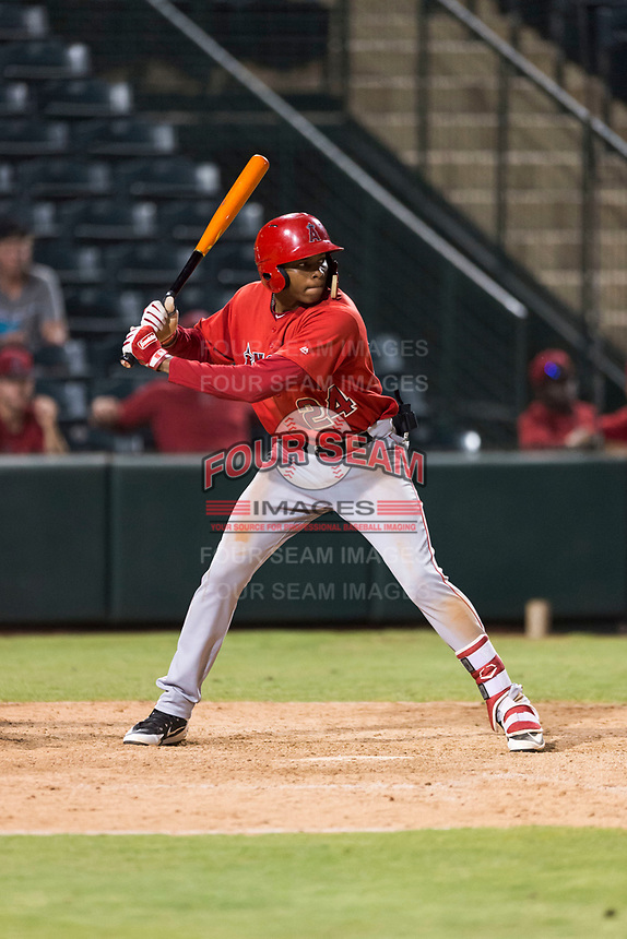 AZL Angels designated hitter William English ( 24) at bat during an Arizona League game against the AZL Diamondbacks at Tempe Diablo Stadium on July 16, 2018 in Tempe, Arizona. The AZL Diamondbacks defeated the AZL Angels by a score of 4-3. (Zachary Lucy/Four Seam Images)