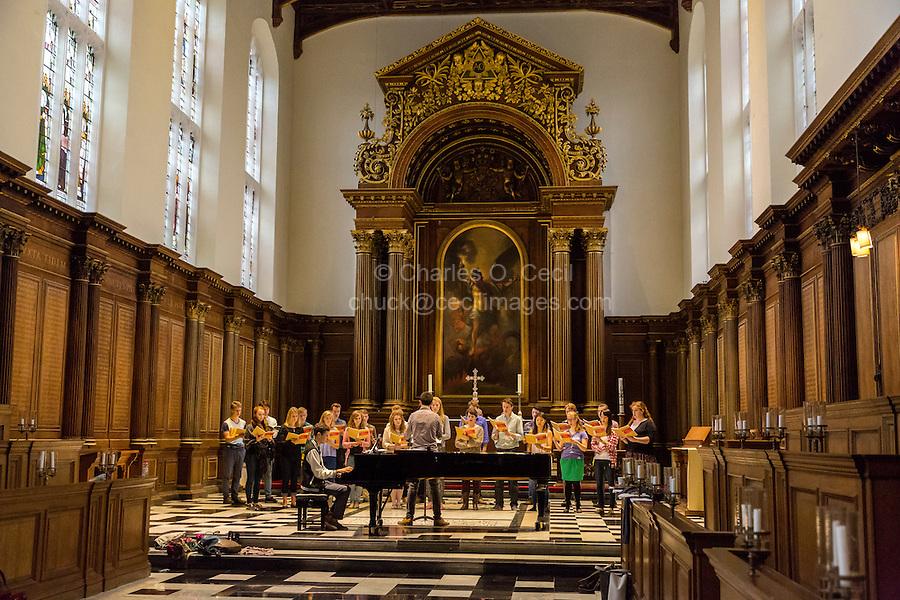 UK, England, Cambridge.  Choir Practice, St. John's College.